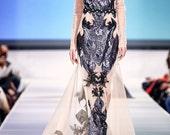 ZORA Nude Gown Illusion Black Sequin Mesh  Long Train Sparkle Sheer Dress