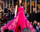 CECILLIA Floral Sequin Over Skirt Gown Curvy