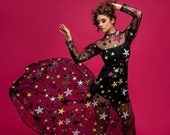 CHARISSE Black Star Maxi Gown Sheer Illusion Mesh Sequin Dress