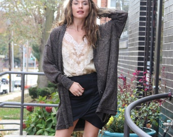 MONTREAL Cardigan Gray Rose Felted lace Oversized Long