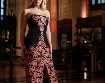 OLIVIA Black Pink Floral Mermaid High Fashion Carpet Gown