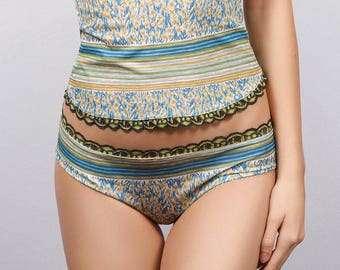 NARCISSUS Blue White Yellow  Lace    Panties  Lingerie Underwear