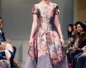 BASILICA Dusty Rose Pink Floral Evening Gown Satin Jacquard Silver Sheer Lace Full Skirt A-line Princess Dress