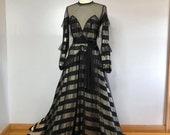 BRIDGETTE Gold Striped Maxi Gown Sheer Illusion Mesh Beaded Dress