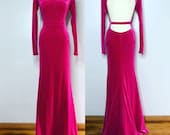 KIMBER Pink Velvet Gown Old Hollywood Stretch Dress Mermaid Train Party
