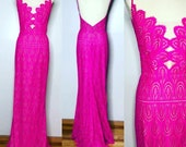 CHICAGO Sheer Hot Pink   Lace  Gown Simple Elegant Bridal Dress Prom