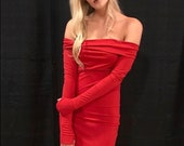 BETH Red Dress Neoprene Gown Old Hollywood Stretch Dress