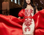 MACCARTNEY Dramatic Red Overskirt Train Lace Mini Dress Separates Pageant Gown Red Carpet