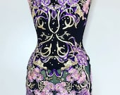 REBECCA Purple Floral Lace Embroidery Dress Sheer Black Evening Gown