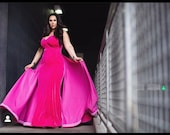 JOSEPHINE Pink Velvet Gown Old Hollywood Stretch Dress Curvy  Corset