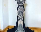 NEW YORK Black Nude Noir  Sequin Dress Sheer Black Evening Gown