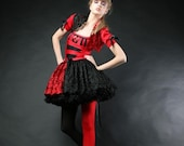 queen of hearts  costume  shrug dress and tutu criniline from alice in wonderland size 2-4-6