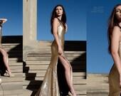 BRIANNA Gold Flip Sequin Gown Silver Sparkle Jewel Rhinestone Evening Dress