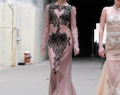 ELEANOR Sequin Illusion Nude Mesh Gown Beaded Lace Sheer Mermaid Dress