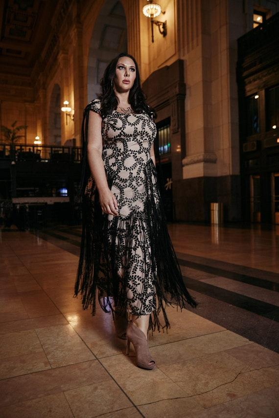 FELICITY Sequin Fringe Dress Plus Size Floral Nude Illusion Black Gown  Tassels