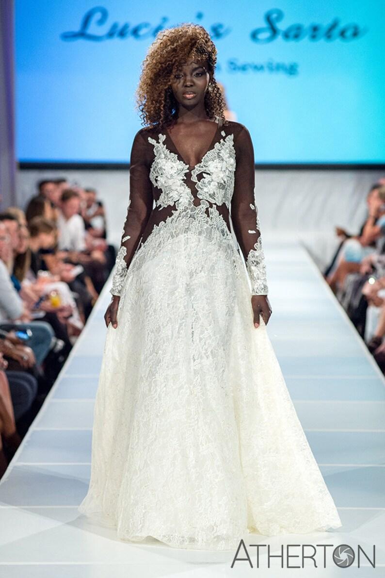 Sale Winny Delicate Illusion Lace Wedding Dress Dark Skin Tone A Line Long Sleeve Bridal Gown