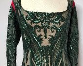 SHANNA Green Sequin Sheath Dress Plus Size Evening Cocktail Gown