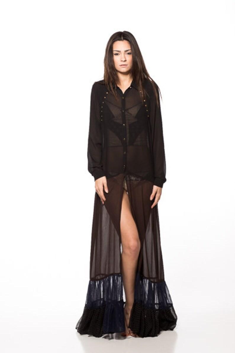 6363bf4d0fb9 LIZAVETTA Gold Studded Black Sheer Shirt Dress Long Maxi
