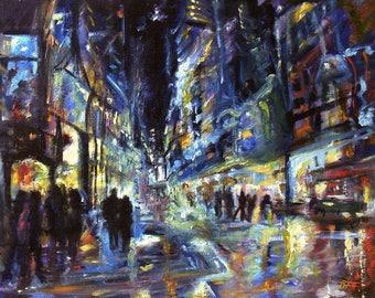 City Lights,  Oil on linen canvas