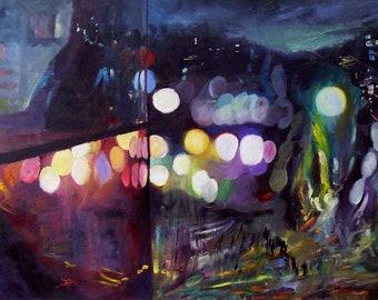 City Lights - unique Oil on canvas painting