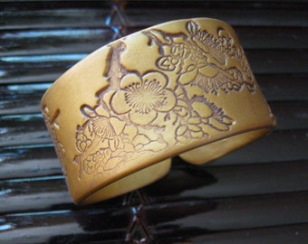 SALE Gold bracelet Asian style floral design, handmade jewelry by theshagbag