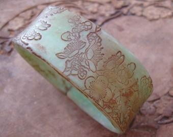 SALE Antique Jade Style Bracelet, Asian Floral Design, Handmade Bracelets by theshagbag on Etsy