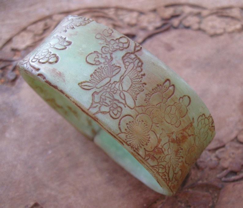 SALE Antique Jade Style Bracelet Asian Floral Design image 0