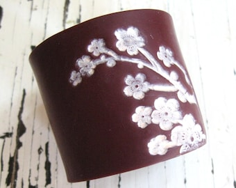 SALE Deep Crimson Cuff Bracelet Asian Pink Floral Blossoms, Jewelry by theshagbag