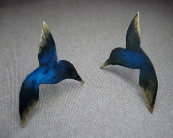 Hummingbirds in my heart -  in bronze with patina on sterling silver post - earrings