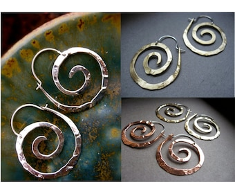 Small Nautilus Spiral Hoop Earrings in Copper, Bronze or Sterling - E025-S