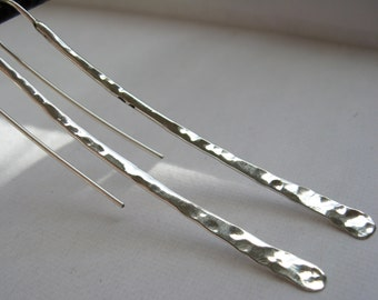 Md - Lg Long hammered curved stick ear wire in copper, bronze or sterling with sterling ear wires