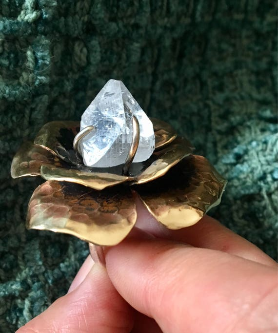 Apophyllite flower statement ring in bronze and sterling. Adjustable band