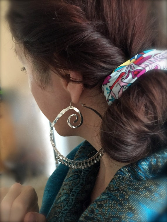 Giant silver gypsy hoops. Hand forged ste ling silver hoops with sparkling swarovski