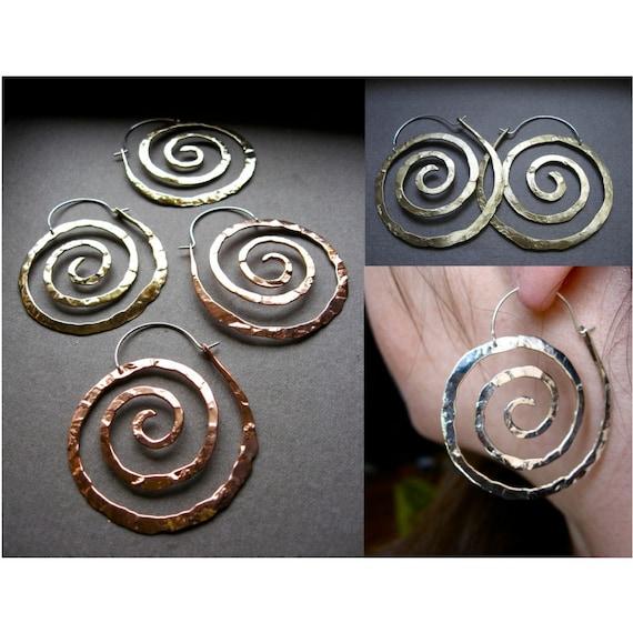 Lg Nautical Spiral Swirl Hoop Earrings in Copper, Bronze or Sterling Silver E025-L