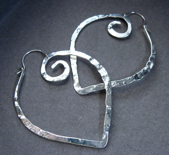 Md Pound Point Hoop Earrings in Sterling silver  plate - E013-M-SP
