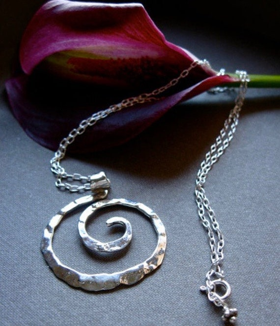 Md Rugged Spiral Pendant Necklace in Copper, Bronze or Sterling