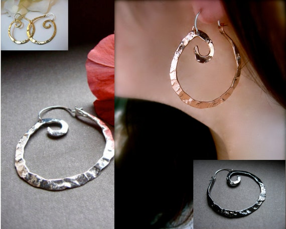 Small Swirl Hoop Earrings in Copper, Bronze, Sterling