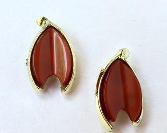 Vintage Brownish Orange Clip On Earrings