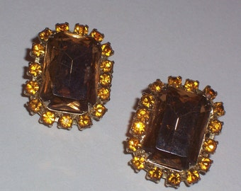Vintage Earrings Topaz Colored Stones and Rhinestones - Clip Ons