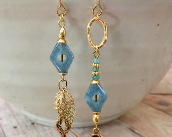 Mismatched Earrings, Blue Jewelry, Blue Earrings, Gold Earrings, Gold Jewelry, Handmade Jewelry, Lightweight Earrings, Gemstone Jewelry