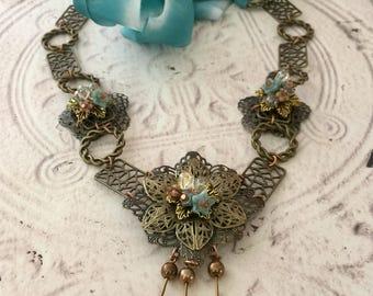 Artisan Jewelry Silk Ribbon Dramatic Necklace Jewelry Gift Czech Glass Necklace Antique Gold Blue Silk Adjustable Swarovski Crystals, Gift