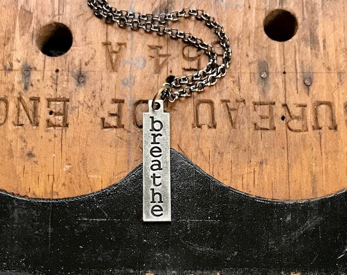 Breathe Necklace, Charm Pendant, Industrial, Minimalist Style Charm Necklace. Lead and NIckel Free 24 Inch Chain With Believe Pendant,