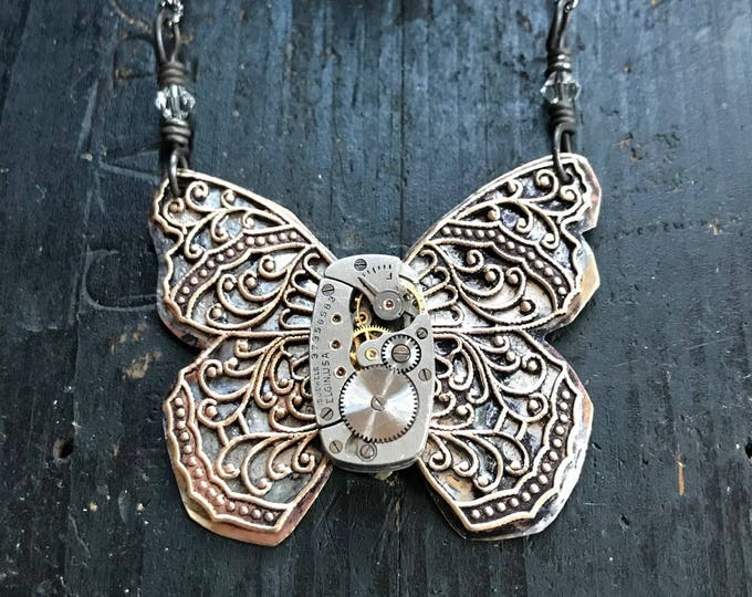 Butterfly Necklace, Industrial, Steampunk Jewelry Made with Vintage Watch Parts, OOAK Necklace made from Brass Filigree Butterfly,
