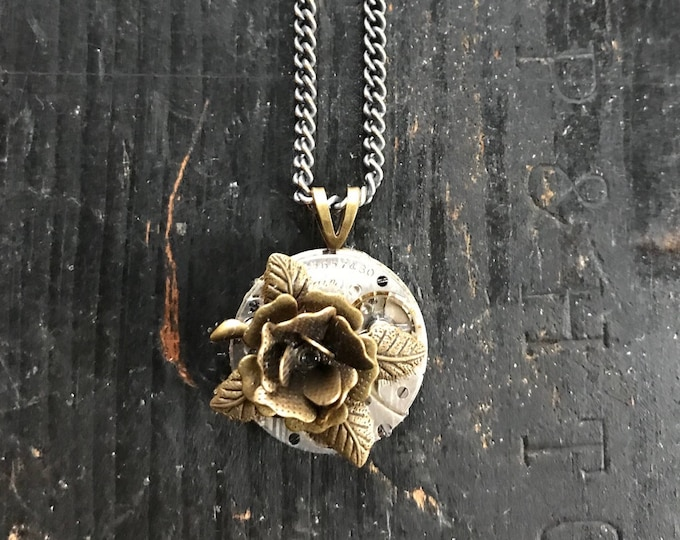 Rose Repurposed Vintage Watch Movement Necklace, Steampunk OOAK Watch Part Jewelry, Industrial Style Necklace