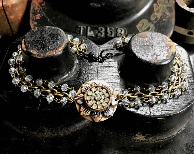 Rhinestone Choker Necklace, Handmade Jewelry, OOAK Repurposed Jewelry Made From Watch Parts, Soldered Brass Metal Flower with Rhinestone