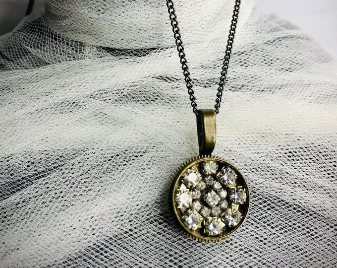 Repurposed Vintage Rhinestone Necklace,  Watch Part Jewelry, One Of A Kind Found Object Necklace, Steampunk Jewelry, Industrial Necklace