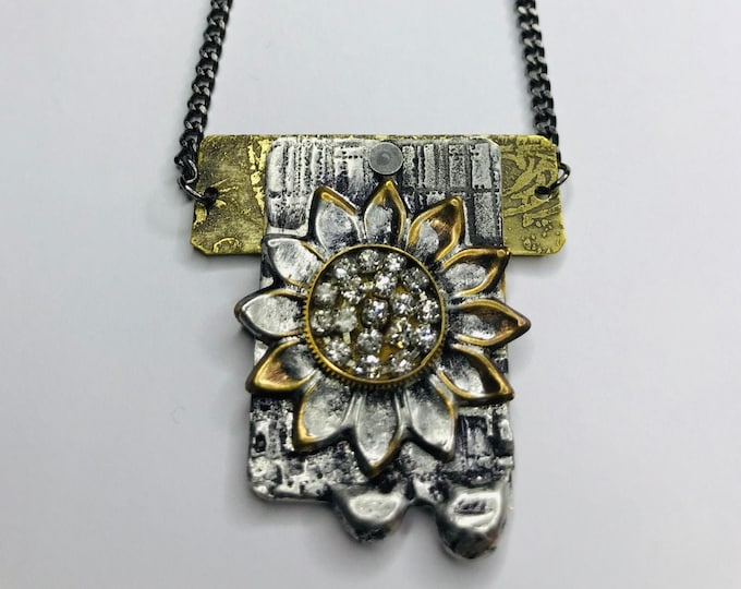 Industrial Glam Floral Necklace, Repurposed Vintage Watch Part Necklace, One Of A Kind Soldered and Etched Necklace, Bling Jewelry