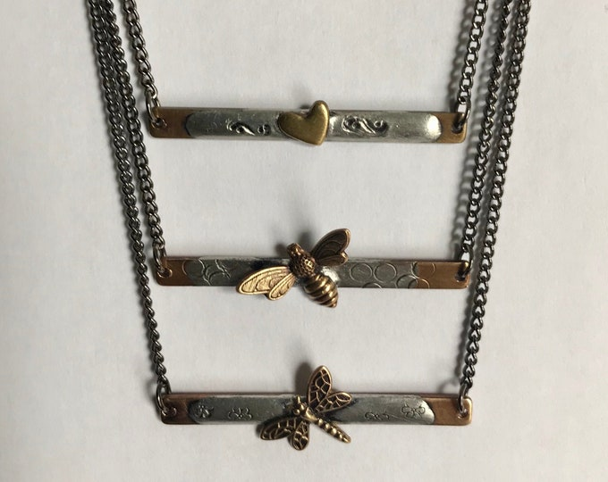 Stacking Bar Necklace For Layering, Your Choice, Butterfly, Dragonfly, or Bee, Gold Bar Necklace For Layering, Minimalist Bar Necklace