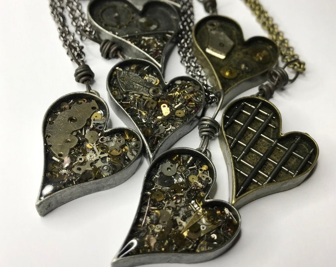 Heart Necklace, Repurposed Jewelry Industrial, Steampunk Style, Watch Part Jewelry One of A Kind Altered Art Necklace in Silver or Bronze