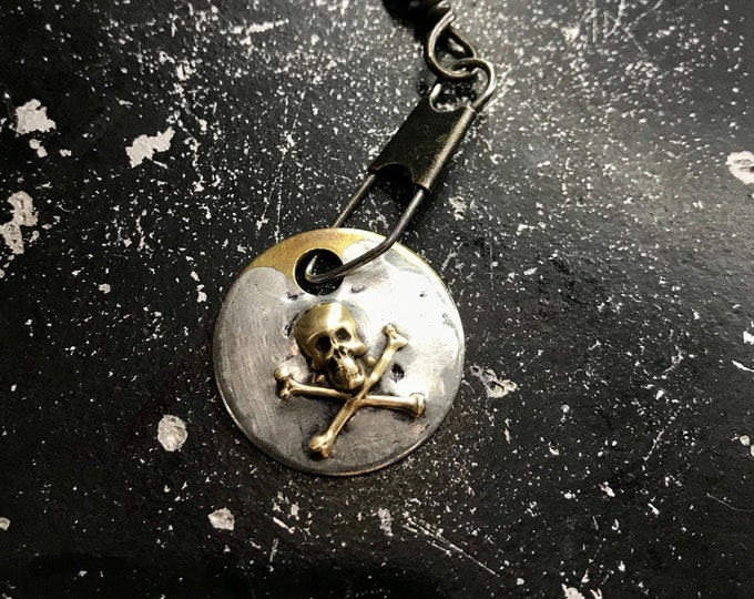 Skull Charm For DIY Necklace, Skull Tag, Metal Skull Charm, Soldered Metal Charm, DIY Necklace Parts, Metal Charm, Hand Made Necklace Charm